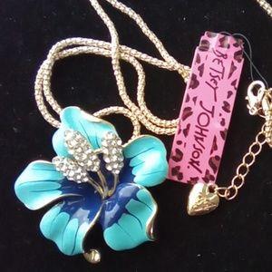 Betsey Johnson Blue Enamel Flower. NWT